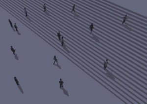 people walking on the stairs