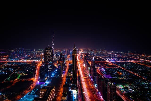 image of dubai at night
