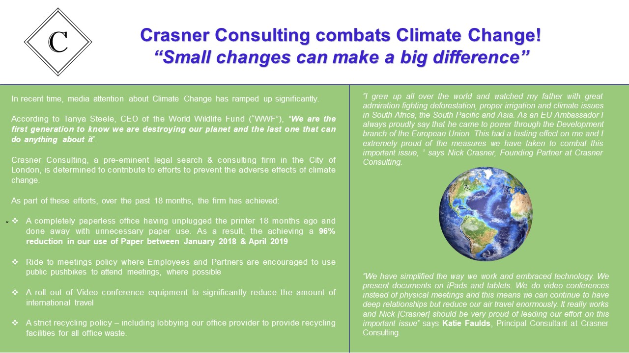 Crasner Consulting combats climate change