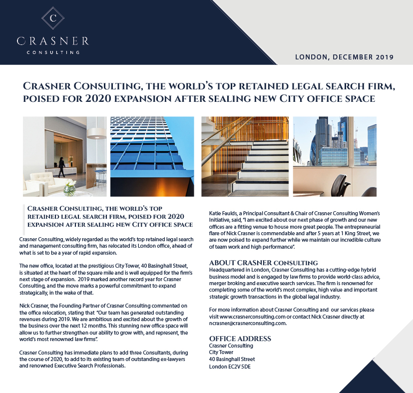 Crasner Consulting is delighted to announce its office relocation to City Tower, as part of our exciting 2020 growth strategy