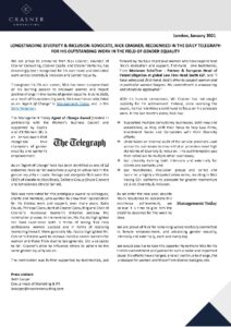 CRASNER CONSULTING PRESS RELEASE LONGSTANDING DIVERSITY & INCLUSION ADVOCATE, NICK CRASNER, RECOGNISED IN THE DAILY TELEGRAPH FOR HIS OUTSTANDING WORK IN THE FIELD OF GENDER EQUALITY copy